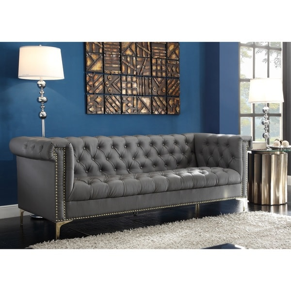 Chic Home Winston Gold Nailhead Trim Button Tufted Pu Leather Sofa Free Shipping Today