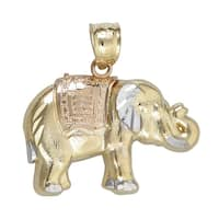 14k Tri-color Gold Elephant Dangling Pendant