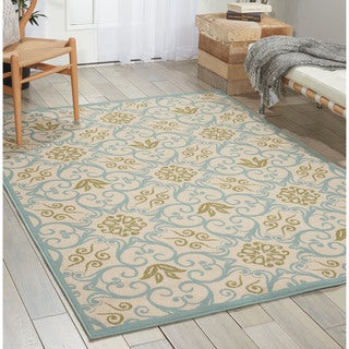 Nourison Caribbean Ivory Blue Indoor/ Outdoor Rug (1'9 x 2'9)