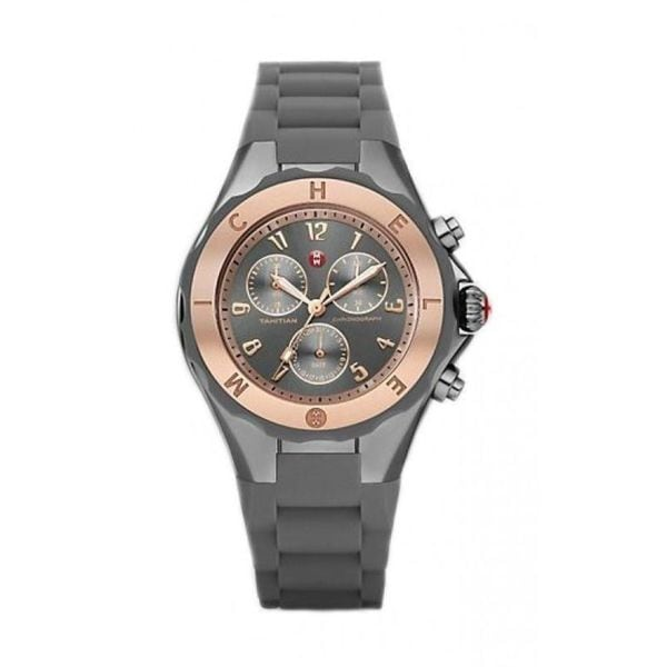 4a1897946 Shop Michele Women's MWW12F000064 'Tahitian Jelly Bean Large' Chronograph  Grey Silicone Watch - Free Shipping Today - Overstock - 11995584