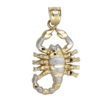 14k Yellow and White Gold Scorpion Dangling Pendant