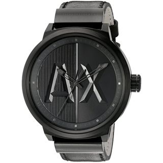 Armani Exchange Men's AX1366 'ATLC' Black Leather Watch