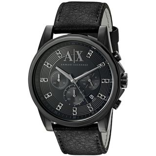 Armani Exchange Men's AX2507 'Outer Banks' Chronograph Crystal Black Leather Watch
