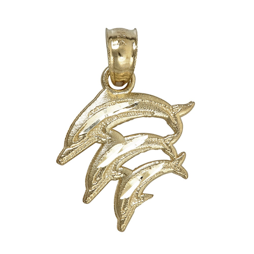 14k Yellow Gold Diving Dolphin Family Dangling Pendant (Y...