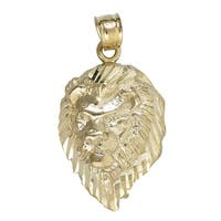 14k Yellow Gold Lion Mane Dangling Pendant