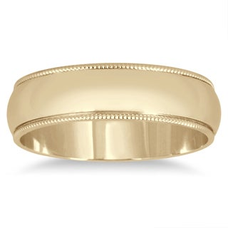 Marquee Jewels 14k Yellow Gold 5mm Milgrain Edge Comfort-fit Wedding Band
