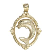 14k Yellow Gold Dolphin in Oval Hoop Dangling Pendant