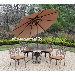 Dakota Cast Aluminum and Sunbrella Fabric 7-piece Patio Set, with Stackable Chairs, Umbrella, and Metal Stand
