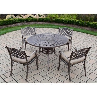 Sundance Explorer Cast Aluminum 5-piece Dining Set with 48-inch Table and 4 Spun Polyester Cushioned Chairs