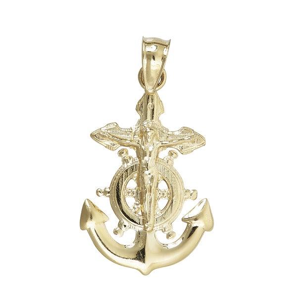 14k Yellow Gold Nautical Wheel And Anchor Dangling Cross Pendant