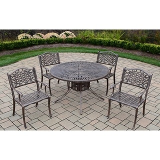 Sundance Explorer Cast Aluminum 48-inch Table and 4 Chairs 5-piece Outdoor Dining Set