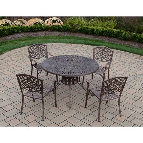 Cast Aluminum 5-piece Dining Set, with 48-inch Table, and 4 Chairs