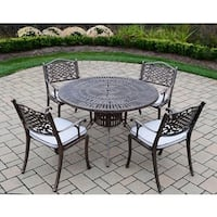 Cast Aluminum 5 pc Dining Set with Round Table, and 4 Cushioned Chairs