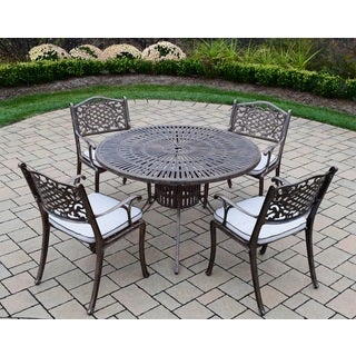 Dakota Sun Cast Aluminum 5-piece Dining Set, with Round Table, and 4 Cushioned Chairs