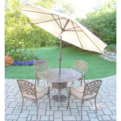 Dining Set, with Cushioned Stackable Chairs, Umbrella, and Stand