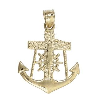 14k Yellow Gold Religious Nautical Cross Wheel and Anchor Dangling Pendant