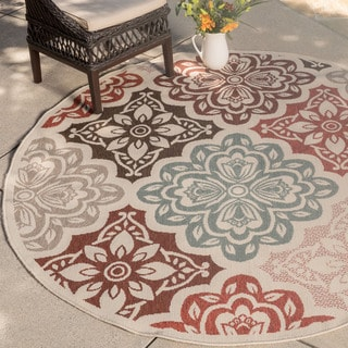 Christopher Knight Home Roxanne Fairen Indoor/Outdoor Multi Floral Rug (7' Round)