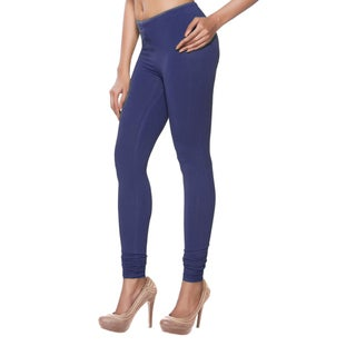 In-Sattva Women's Indian Solid Blue Leggings
