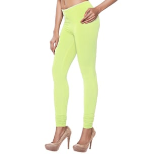 In-Sattva Women's Indian Solid Green Leggings