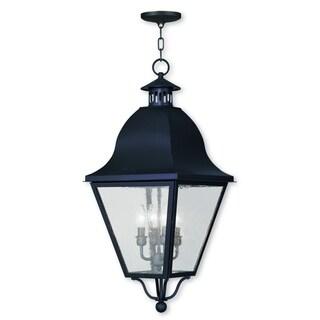 Livex Lighting Amwell Black Brass 4-light Outdoor Chain Lantern