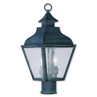 Livex Lighting Vernon Charcoal Brass and Glass 8.5-inch x 19-inch Two-Light Outdoor Post Lantern