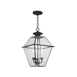 Livex Lighting Westover Black Brass and Glass 3-light Outdoor Chain Lantern
