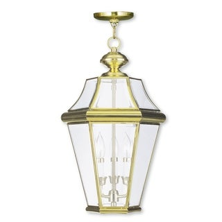 Livex Lighting Georgetown Polished Brass 3-light Outdoor Chain Lantern
