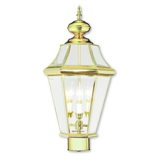 Livex Lighting Georgetown Polished Brass 3-light Outdoor Post Lantern