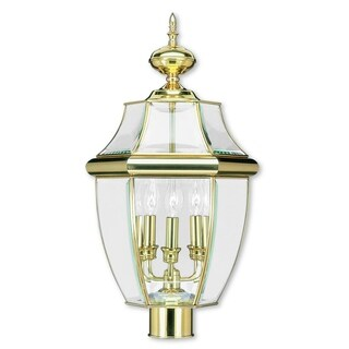 Livex Lighting Monterey Polished Brass 3-light Outdoor Post Lantern