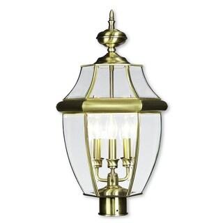 Livex Lighting Monterey Antique Brass 3-light Outdoor Post Lantern