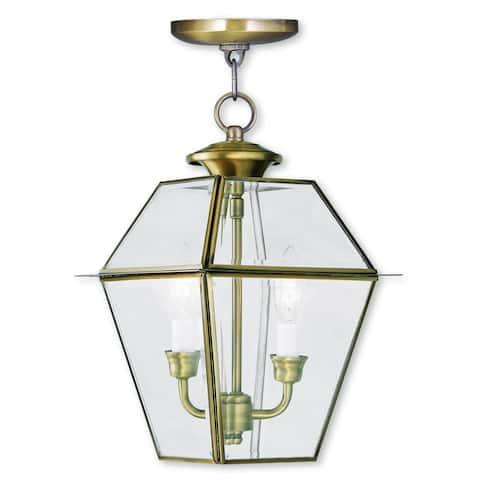 Livex Lighting Westover Antique Brass 2-light Outdoor Chain Lantern