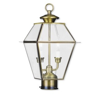 Livex Lighting Westover Antique Brass/Glass 2-light Outdoor Post Lantern