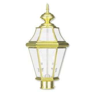 Livex Lighting Georgetown Polished Brass 2-light Outdoor Post Lantern