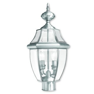 Livex Lighting Monterey Brushed Nickel Brass/Glass 2-light Outdoor Post Lantern