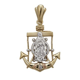 14k Tri-color Gold Anchor Virgin Mary Pendant