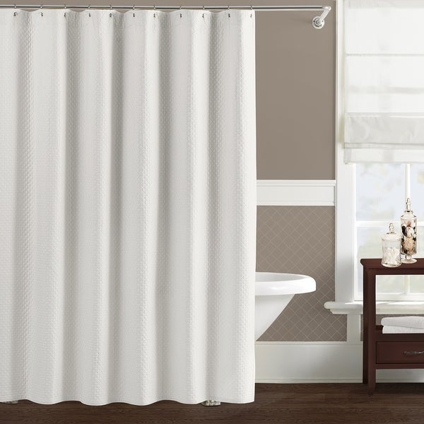 Pink Curtain Rod Finials Long White Shower Curtain