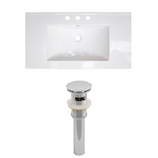 32-in. W x 18-in. D Ceramic Top Set In White Color And Drain