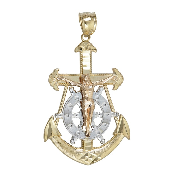 14k Tri Color Gold Religious Nautical Cross Wheel And Anchor