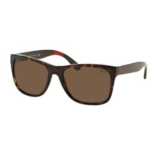 Polo Ralph Lauren Men's PH4106 556873 Havana Plastic Rectangle Sunglasses