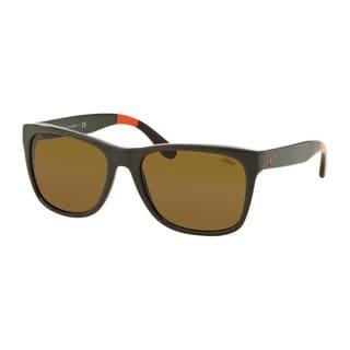 Polo Ralph Lauren Men's PH4106 557073 Green Plastic Rectangle Sunglasses