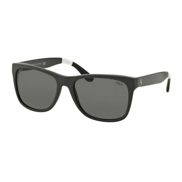 eb4e48a23d0a Polo Ralph Lauren Men's PH4106 557187 Grey Plastic Rectangle Sunglasses