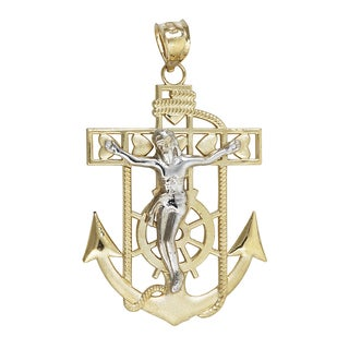 14k Yellow and White Gold Religious Heart Nautical Cross Wheel and Anchor Dangling Pendant
