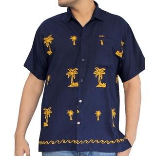 La Leela Men's Navy Blue Yellow Palm Tree Hawaiian Short-sleeve Button-down Shirt