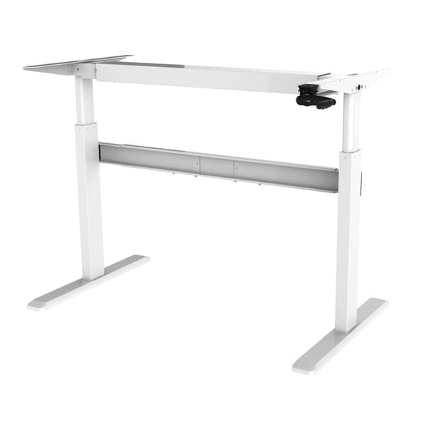 Ergomax White Metal Height Adjustable Crank Desk Free