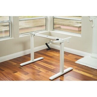 Ergomax White Metal Height-adjustable Crank Desk Frame