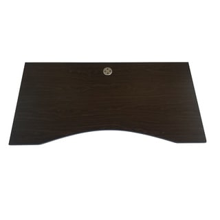 Ergomax Dark Brown Wood Ergonomic Table Top with Silvertone Round Wire Box