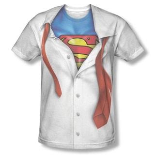 Men's White Cotton/Polyester Superman Button-down Costume T-shirt