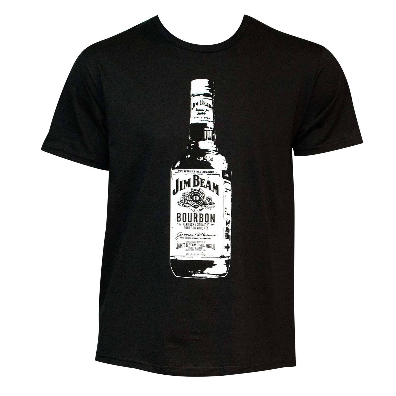 Men's Black Jim Beam Bottle T-shirt (L) (cotton, graphic)