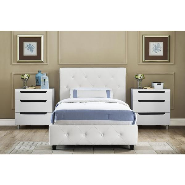 Shop DHP Dakota White Faux Leather Upholstered Twin Bed - Free ...