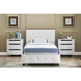 DHP Dakota White Faux Leather Upholstered Twin Bed